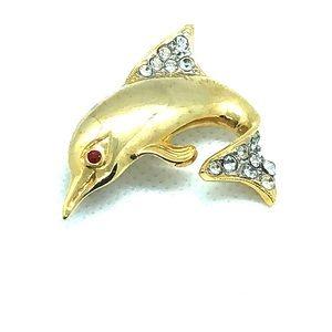 VTG Lovely Sparkling Dolphin Brooch